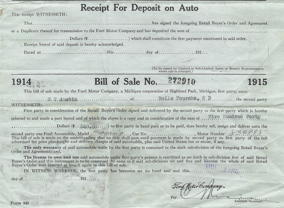 Model T Ford Forum: 1915 Bill