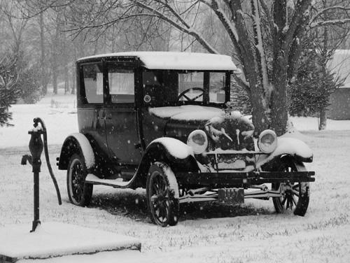 B&W Tudor in snow