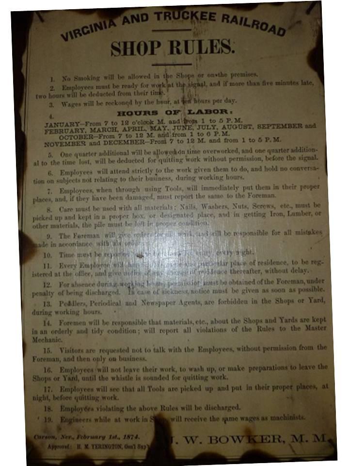V & T RR  Work Rules 1874