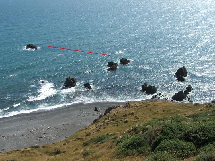 Red Line is location of Devon wreck