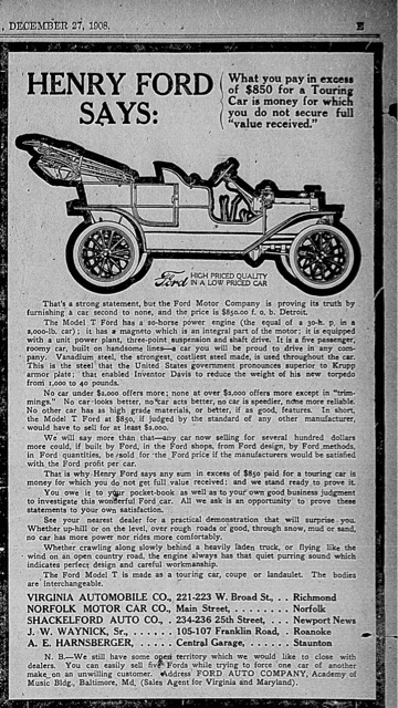 An Automotive Reporter Jack Stone Is Shown In A 1907 Ford Model K The Caption Improvements Will Be Noted Article Did Not Mention