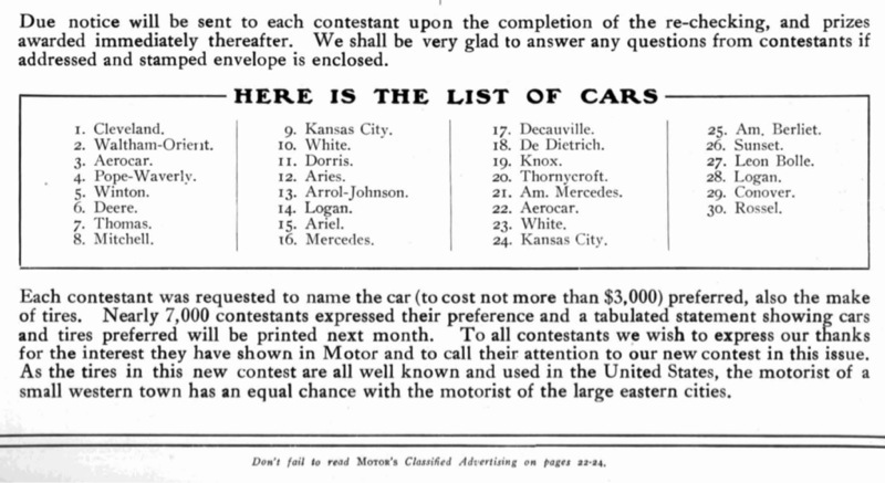 And now the winners as their names appeared in Motor magazine. Notice only four contestants named all the cars correctly out of over 6500 respondents.  sc 1 st  Model T Ford Club of America & Model T Ford Forum: OT - 1907