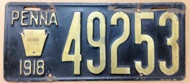 1918 PA plate