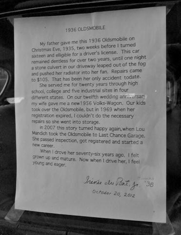 Testimonial in 36' Olds window