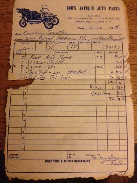 Model T Ford Forum: Old Receipt from Bob's Antique Auto
