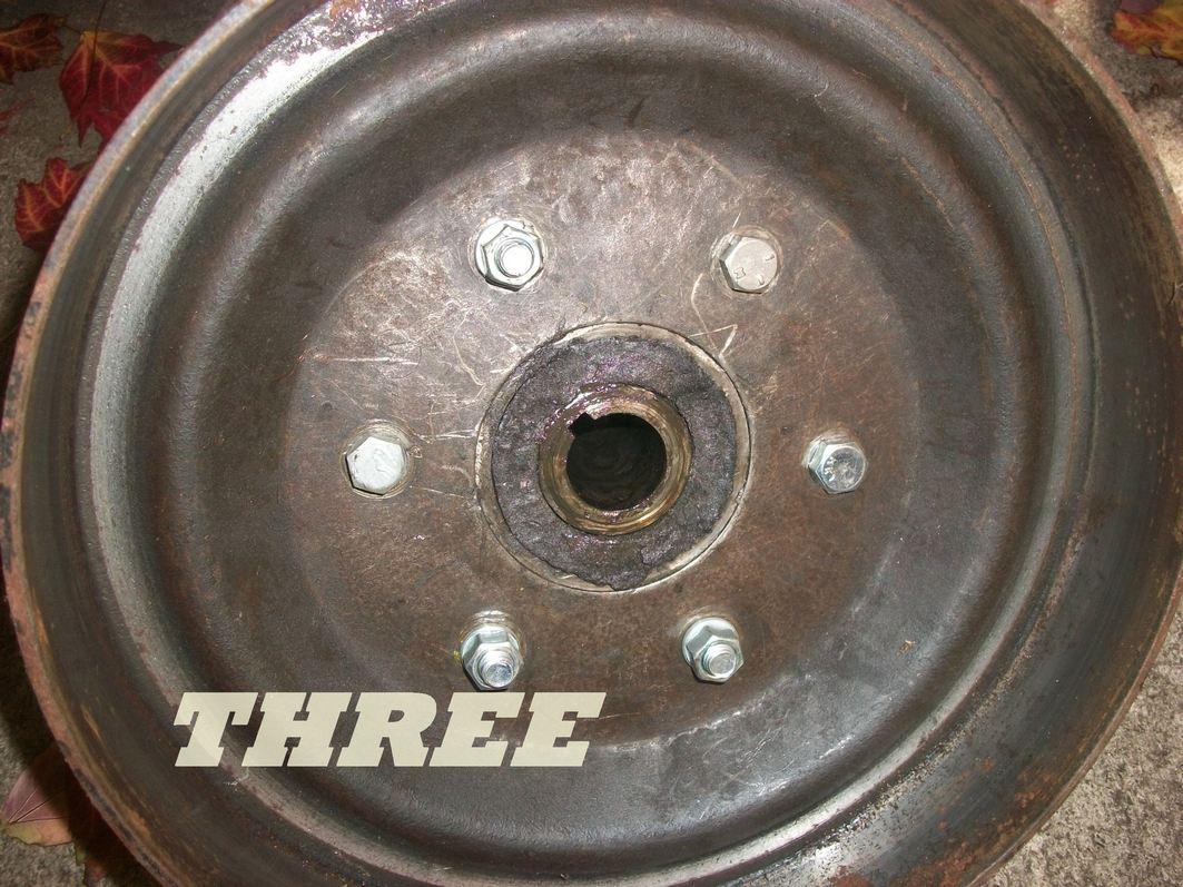 rear hub brake hub pulled showing inside and false add on studs