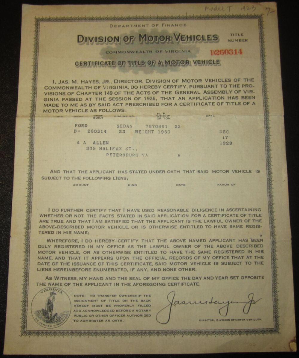 Model T Ford Forum Certificate Of Title Of A Motor Vehicle Virgina