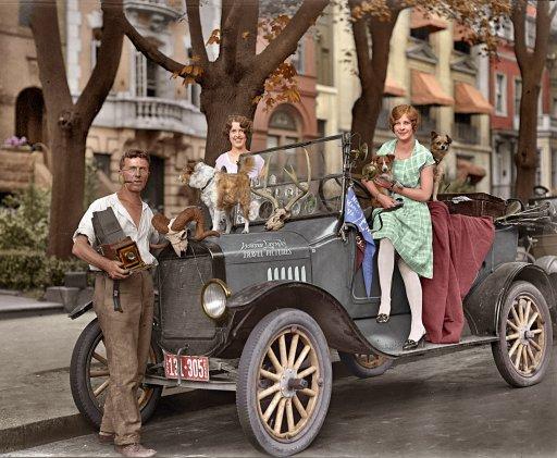 colorized 1927 bw photo