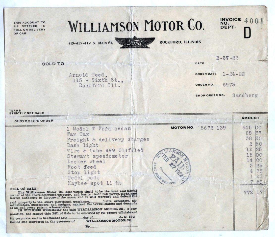model t ford forum 1922 ford sedan bill of sale