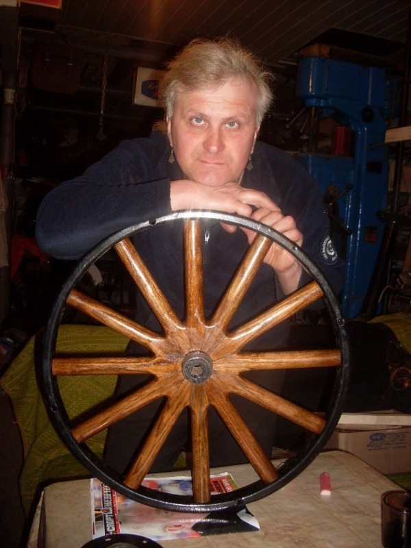 Dmitry with wheel after restoration