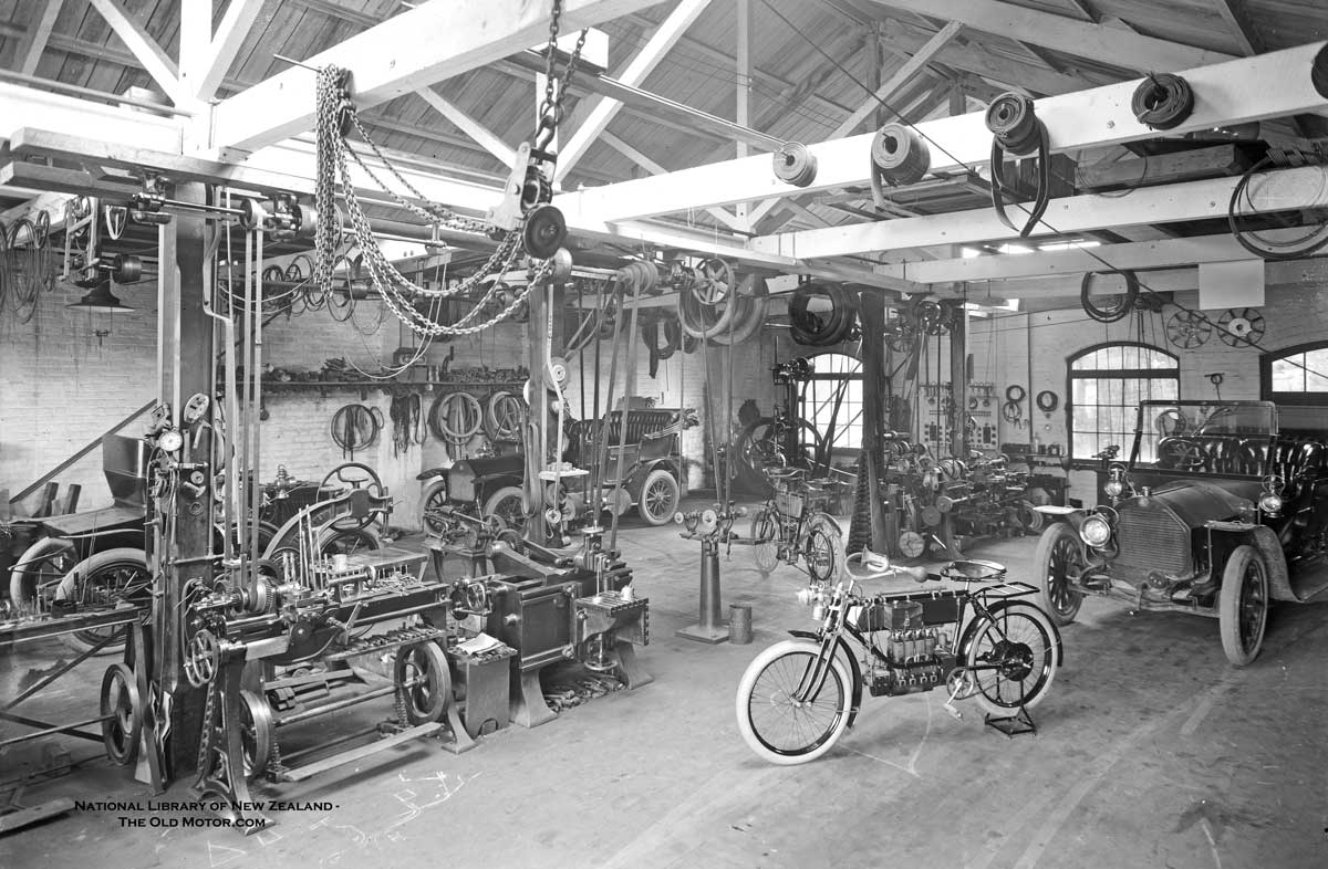 Model T Ford Forum Ot Great Old Photo Showing The Inside Of An Early Garage Machine Shop Filled With Cars Motorcycles And Machine Tools