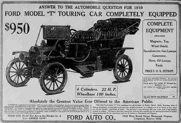 1910 Model t ad
