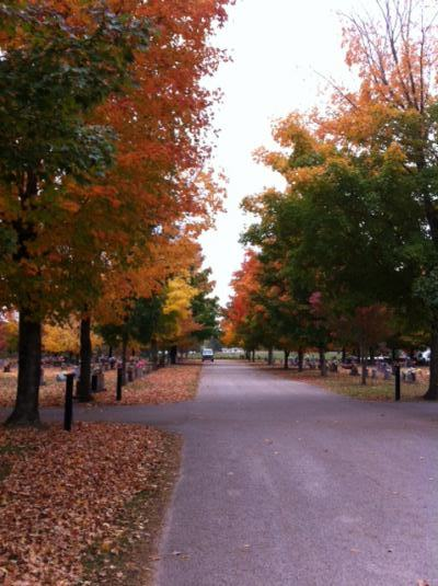 Beautiful fall colors at Harrison Maplewood Cemetery