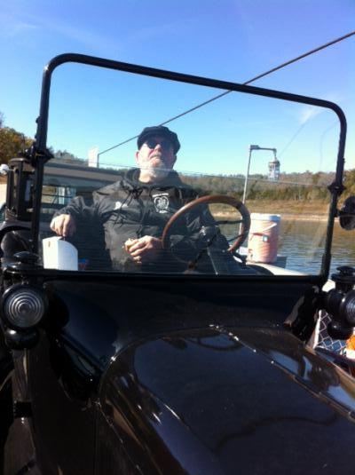 2014 Arkansas Tin Lizzies Club President riding the Ferry across Bull Shoals Lake