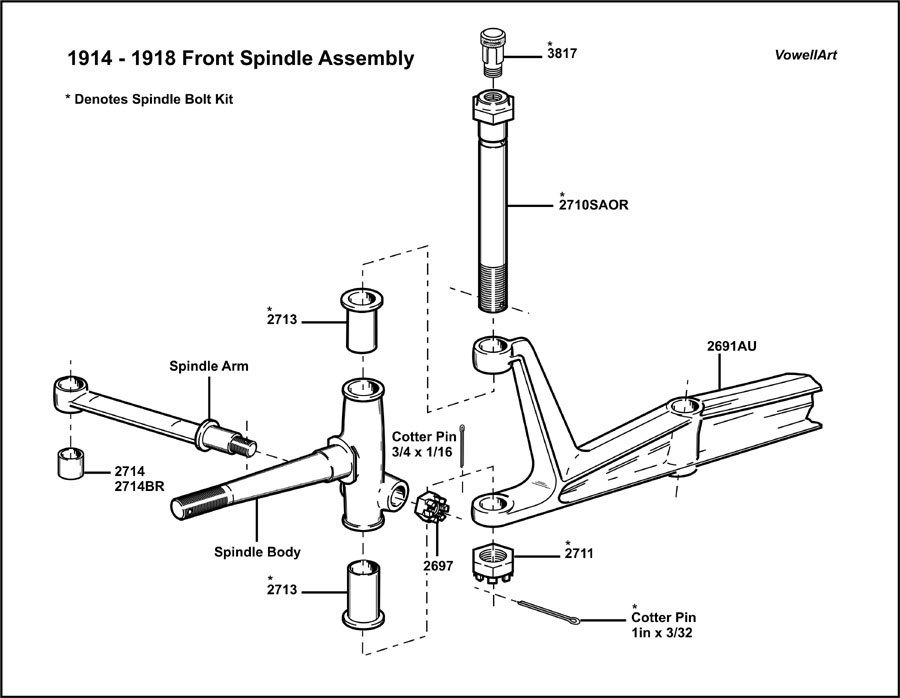 Ford Spindle Assembly : Model t ford forum front spindle assembly