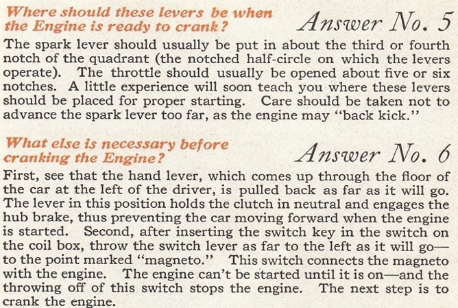 Ford 1917 Starting Instructions