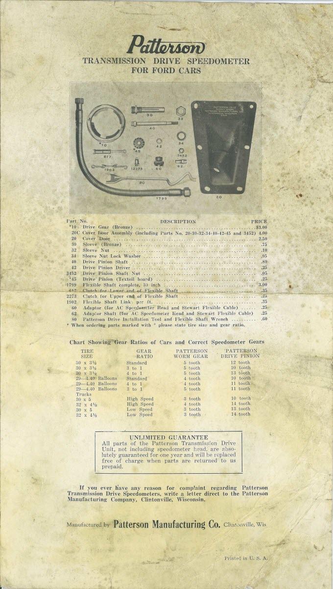 Patterson parts list