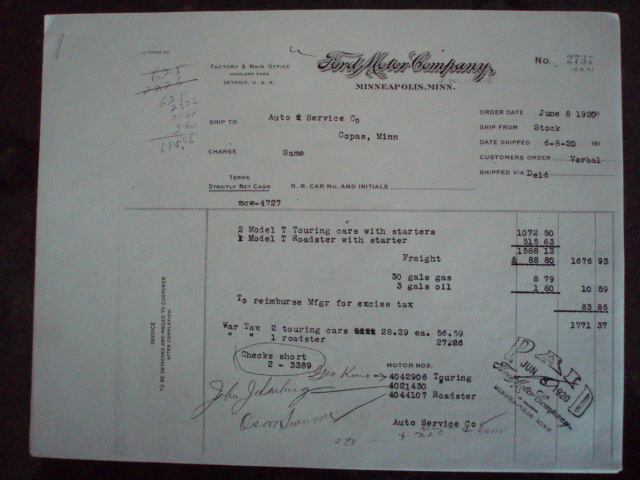 Model T Ford Forum 1919 1920 Invoices