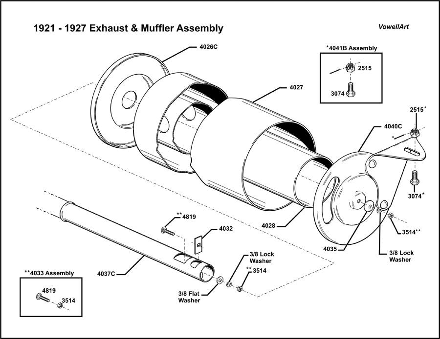 Model T Ford Forum 1921 1927 Exhaustmuffler Assembly