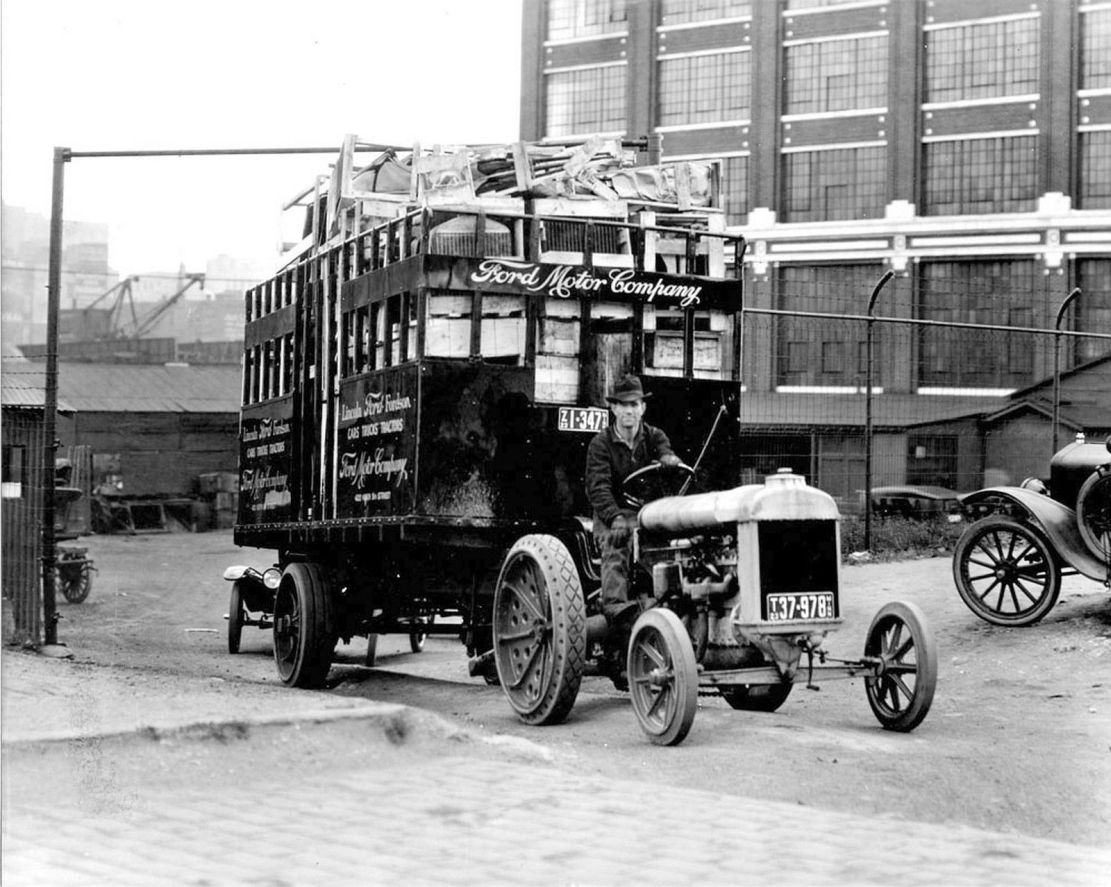 Model t ford forum old photo fordson pulling a trailer load of crated parts