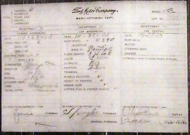 Jeep Build Sheet >> Model T Ford Forum 1910 Build Sheet