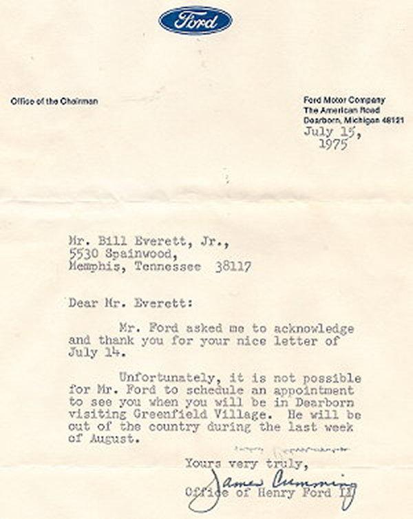 Henry Ford letter