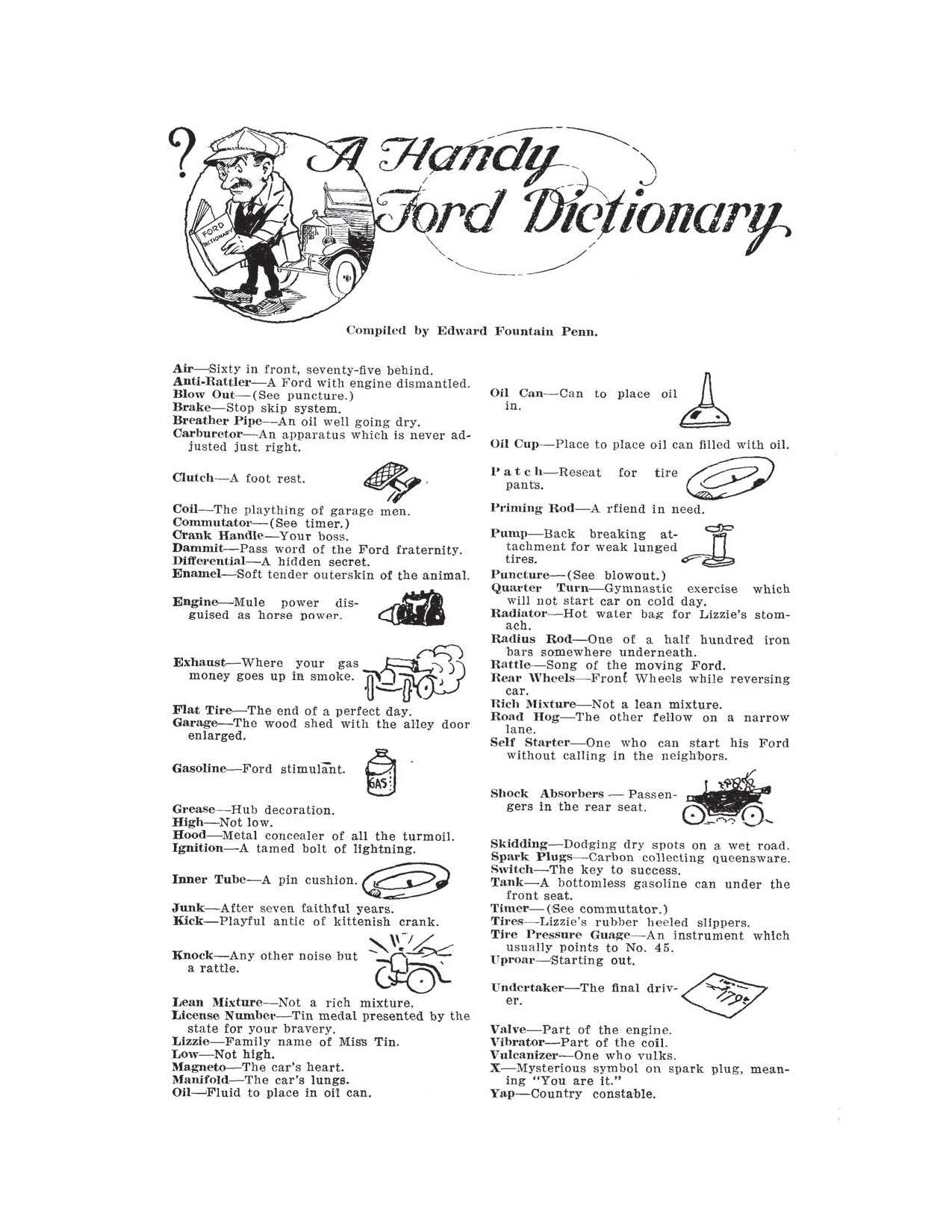 Model t ford forum ot a handy ford dictionary from 1920 i was looking through a june 1920 ford owner magazine and came across the following ford humor that i thought some members of the group would enjoy buycottarizona