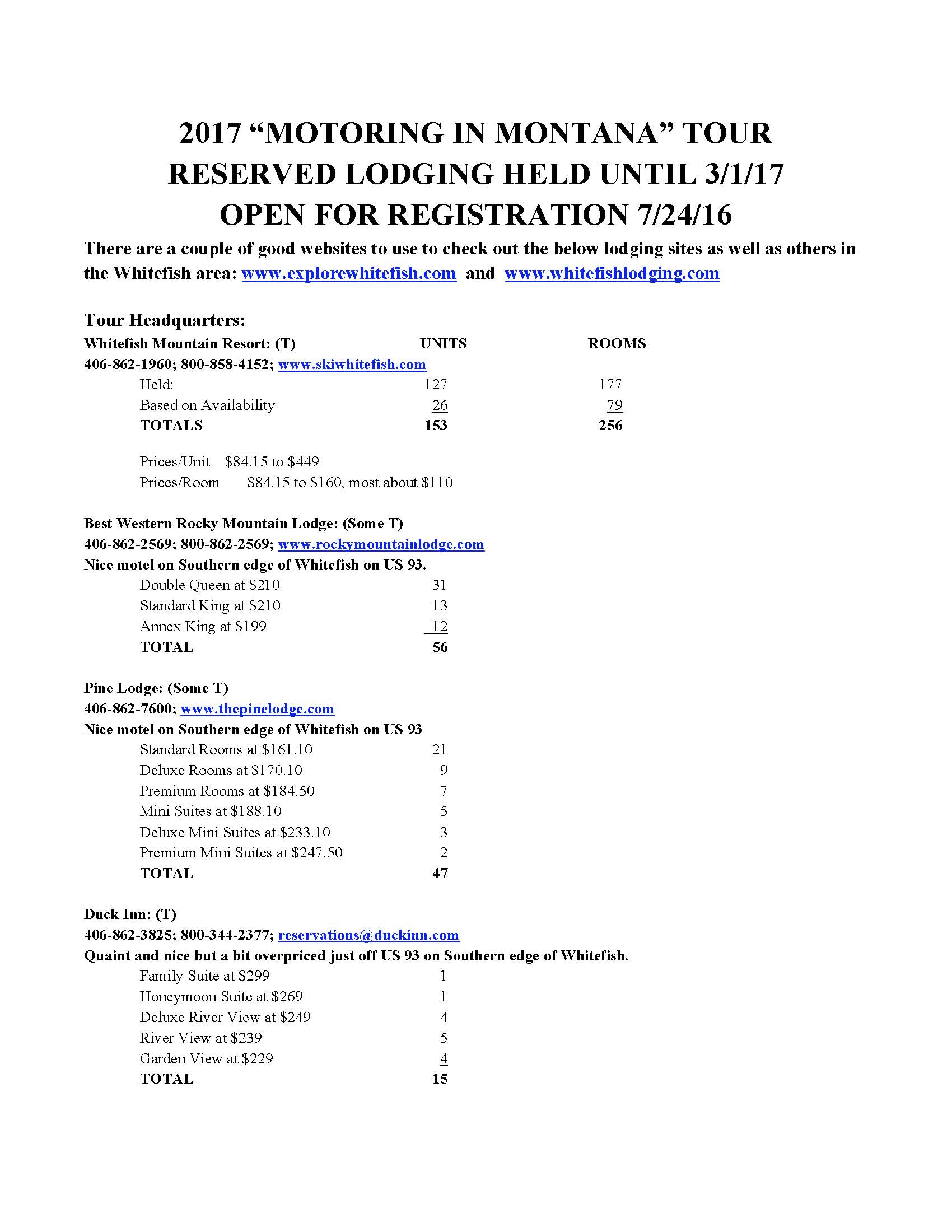 First Page of Lodging Information