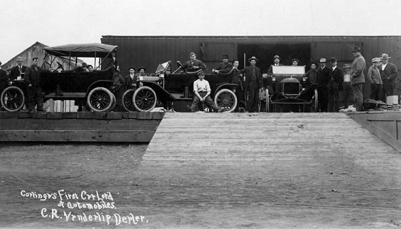 Frist load of new 1913 Fords to Coalinga Ca.