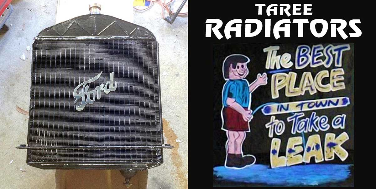 Freshly painted radiator- with no leaks! .... and Taree Radiators slogan