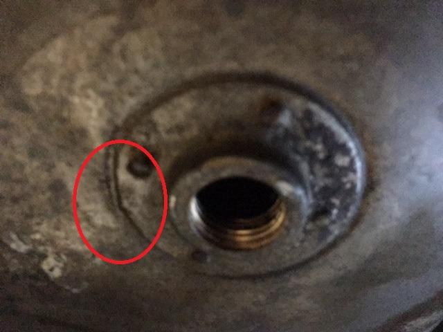Leaking gas tank valve seat.