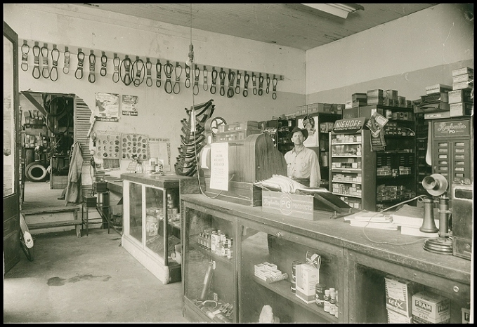 August Bradshaw (owner from 1932 to about 1958) inside the shop area of the garage.