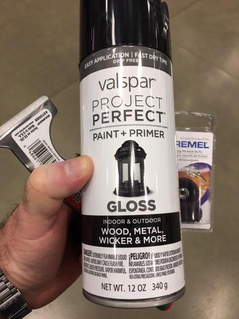 Valspar Gloss Black, scraper and dremel scotch wheel.
