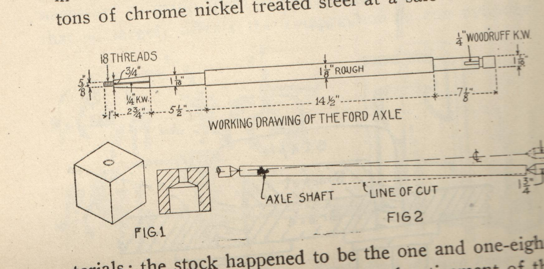 Working drawing of the Ford axle