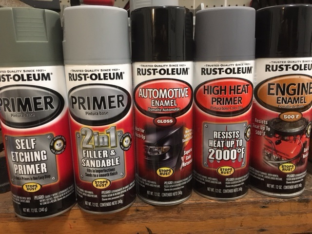 Variety of Rustoleum paint for Model T.