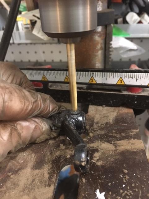 Drilling rivet head.