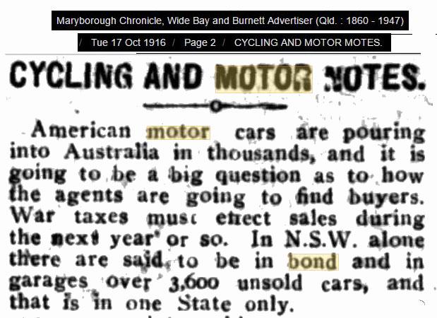 cars in bond