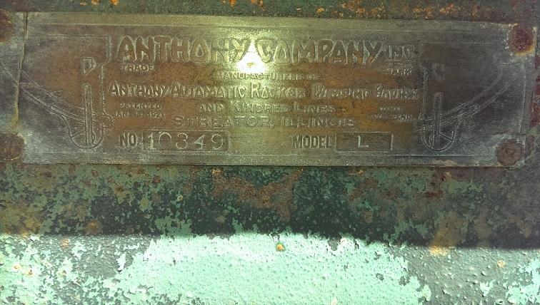 Anthony Autorocker Dump Data Plate