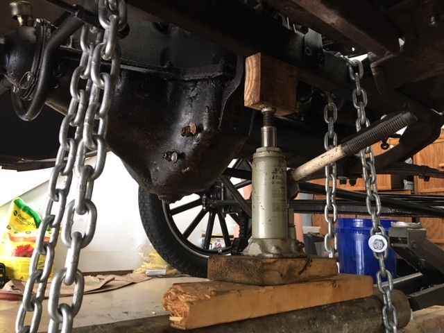 Model T Ford Forum: Frame sag straightened without body removal.