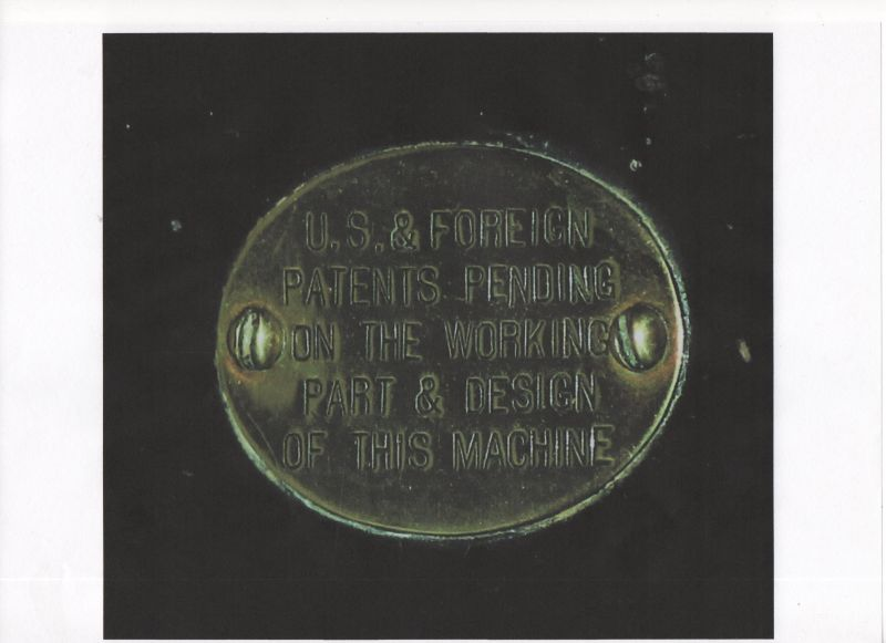 Origonal Ford Quadricycle patent plate on rear of seat