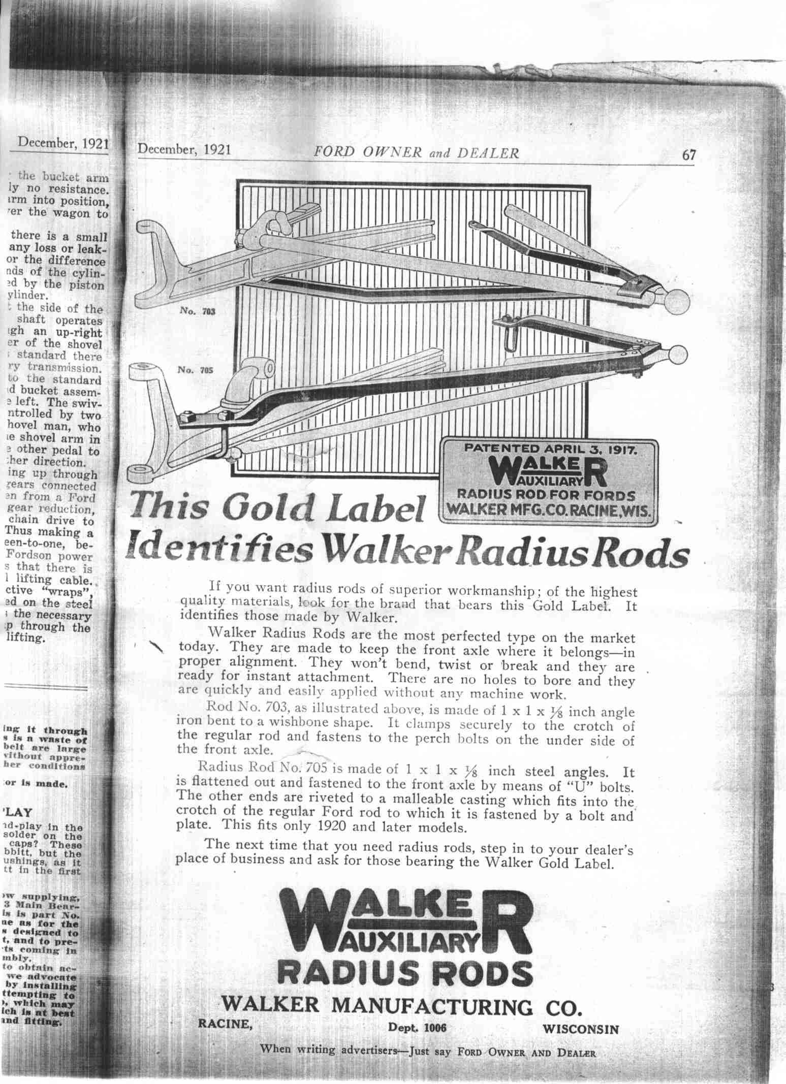 Dec 1921 add for Walker Auxiliary Front Radius Rods