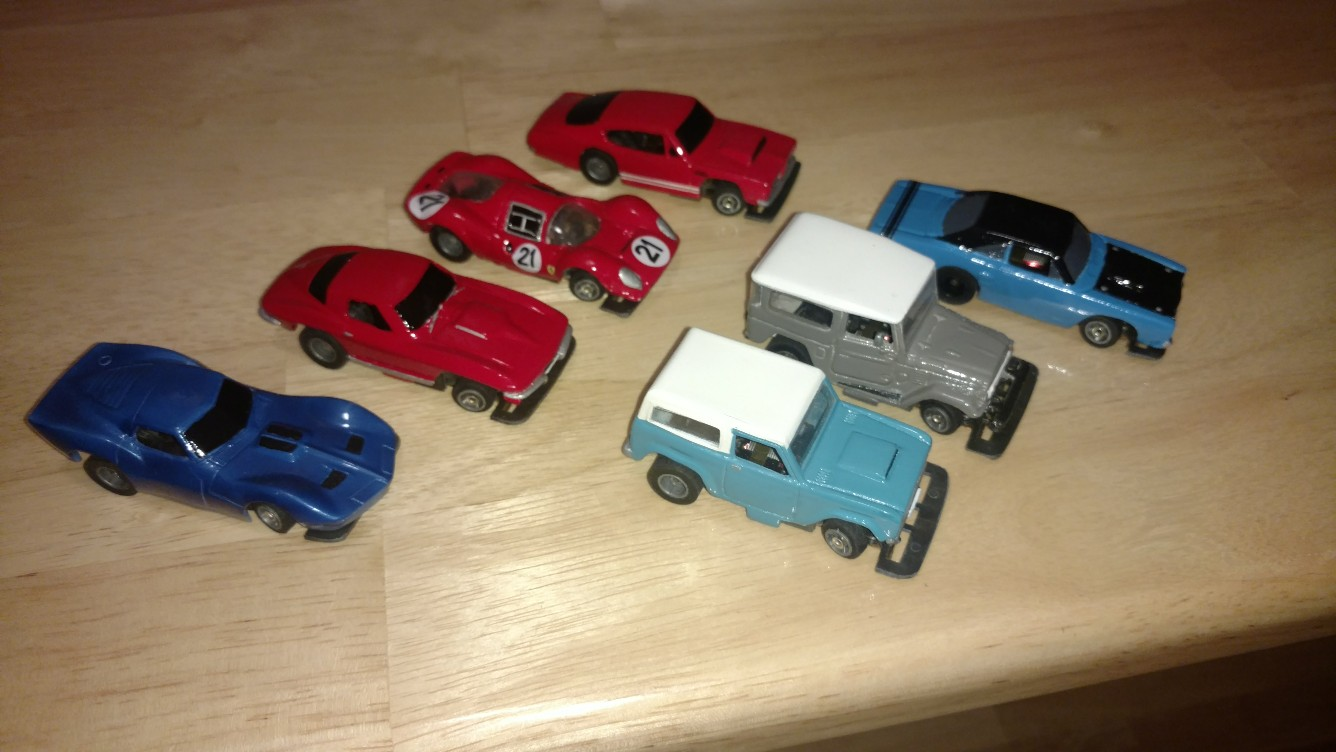 1960s - first row, second car (red) is one that I cast in resin from an M2 Machines body.