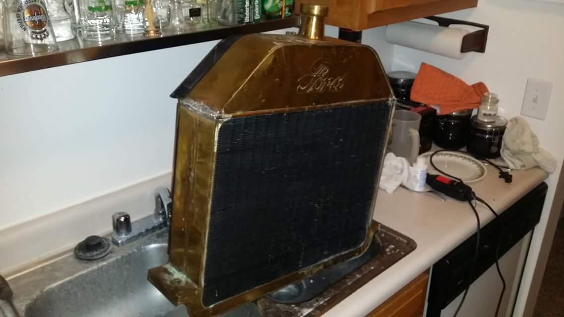 Radiator in kitchen sink