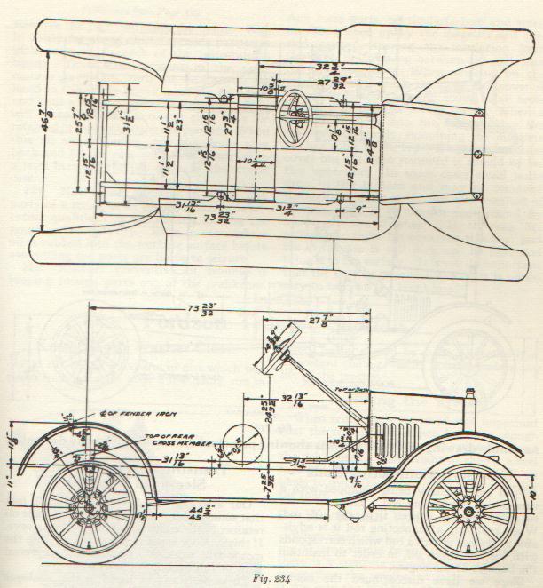 ford model t frame dimensions