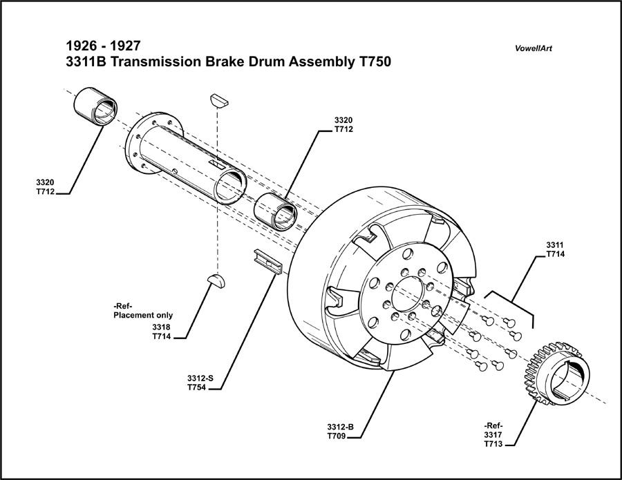 Model T Ford Forum 1926 1927 Transmission Brake Drum Assembly