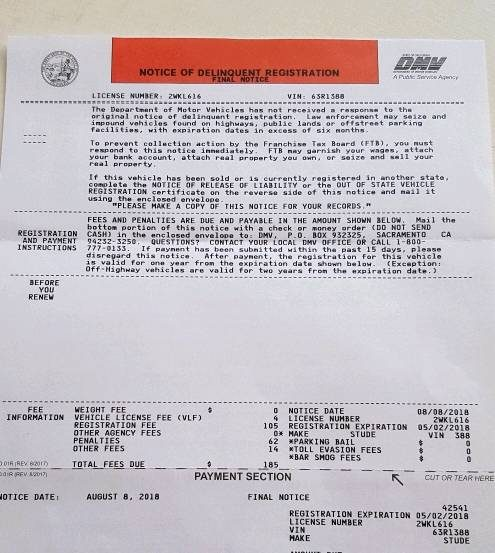 Ca Dmv Pay Registration >> Model T Ford Forum Delinquent California Registration