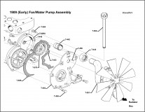 1909 Early Fan-Water Pump Drive Assembly