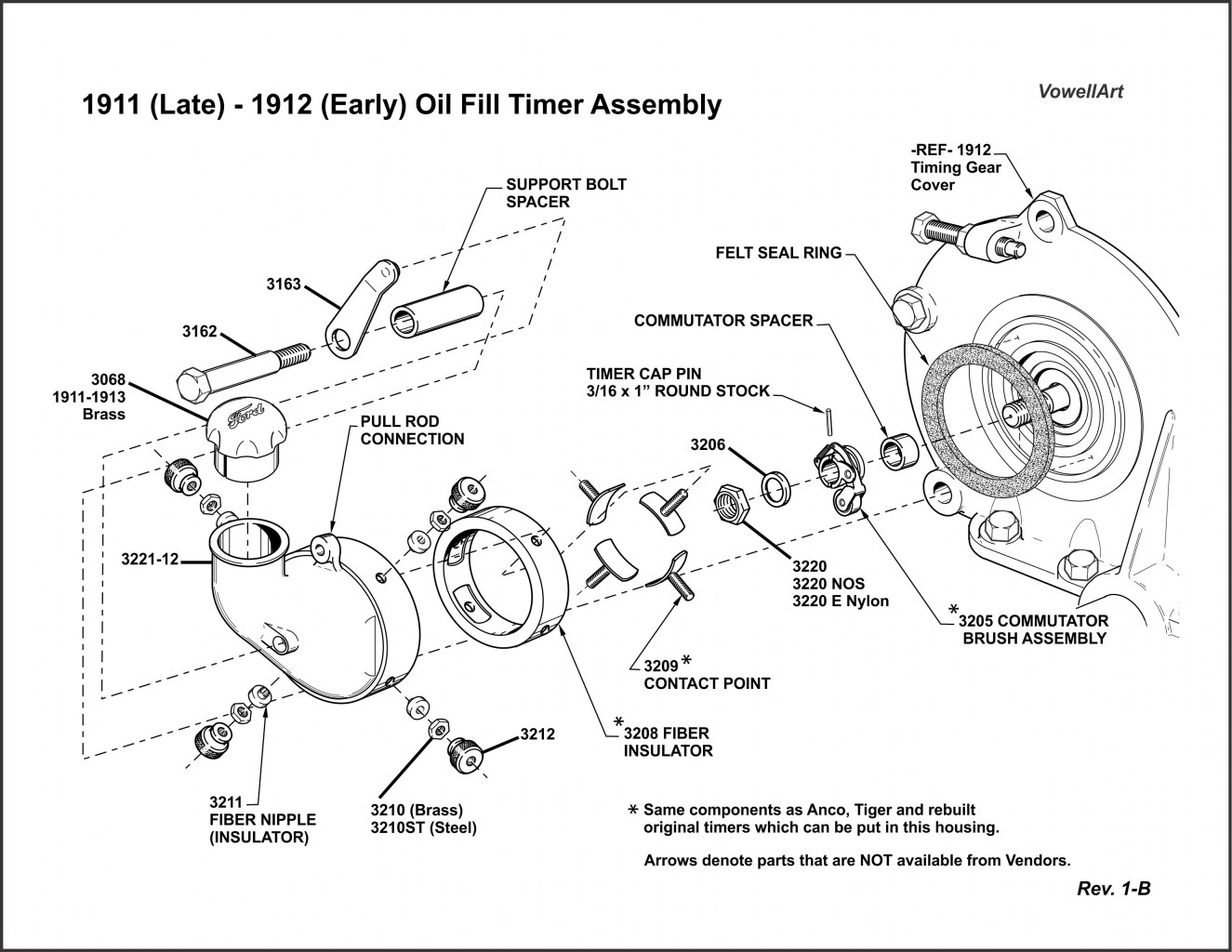 1911 (Late) 1912 (Early) Oil Fill Timer Assembly Rev. 1-B