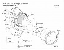 1911-1914 Gas Headlight Assembly (Corcoran)