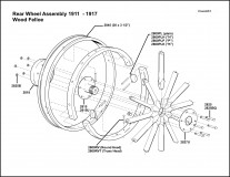 1911-1917 Rear Wheel Wood Felloe Assembly